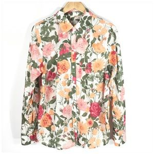 Talbots Floral Long Sleeve Button Down Shirt Sz L
